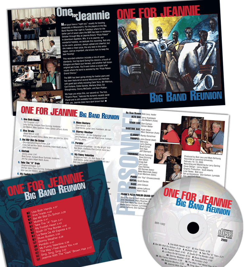 "CD packaging and Liner Notes - Big Band Reunion ""One for Jeannie"""