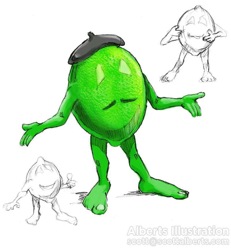 Character design sketches for a Lime, Alberts Illustration and Design