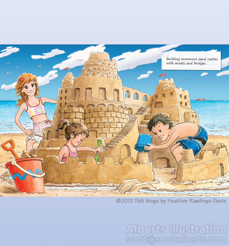 Book illustration - Building Sand Castle - Alberts Illustration