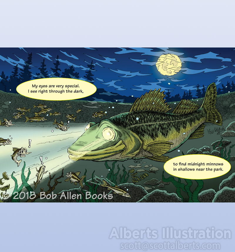 Freelance Illustration - Wally the Wily Walleye's Night Vision - Alberts Illustration