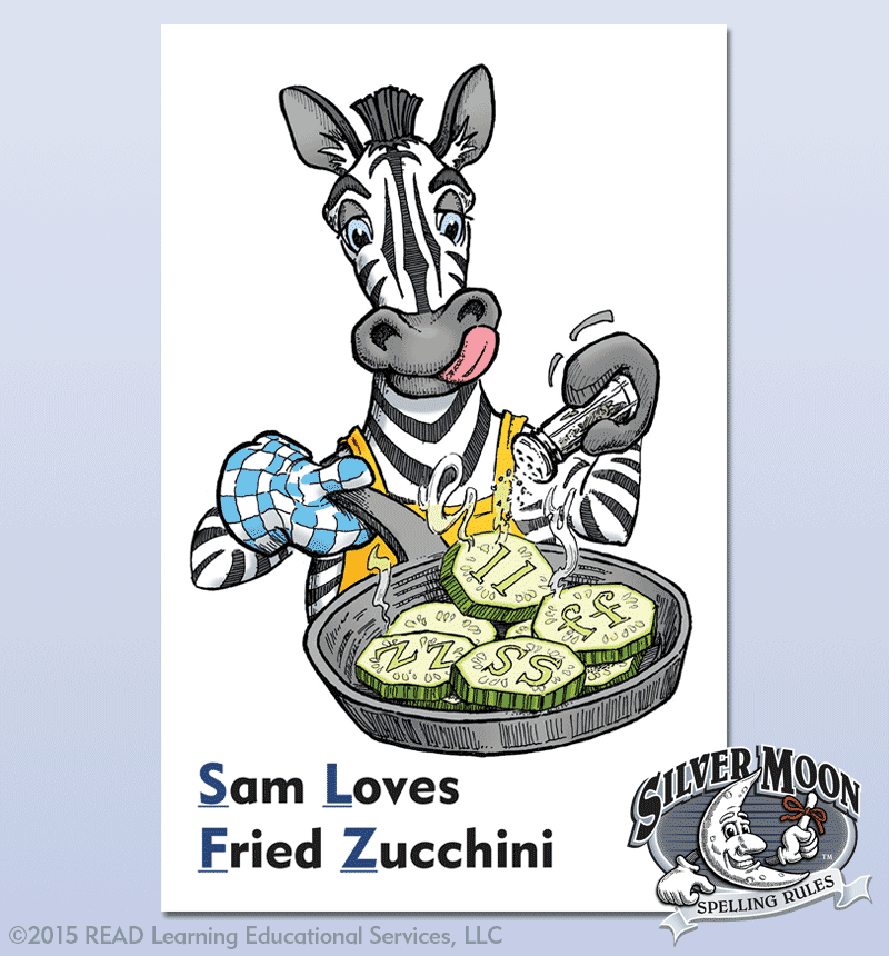 Freelance Illustration - Zebra Spelling Card for Silver Moon - Alberts Illustration