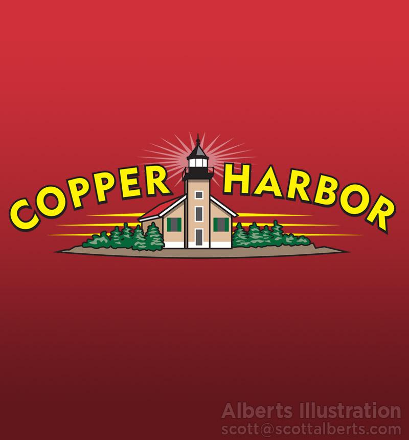 logo design - copper harbor foods - alberts illustration