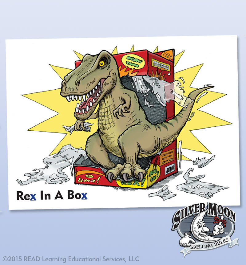 Visual Aids for Learning - Dinosaur Spelling Rule Card - Alberts Illustration