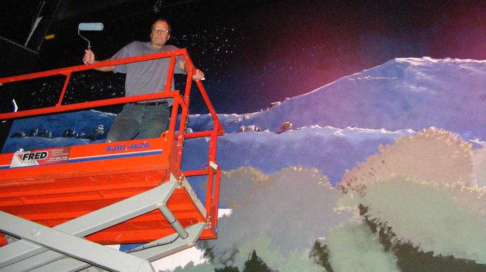 Scott Alberts creating a large format scene.