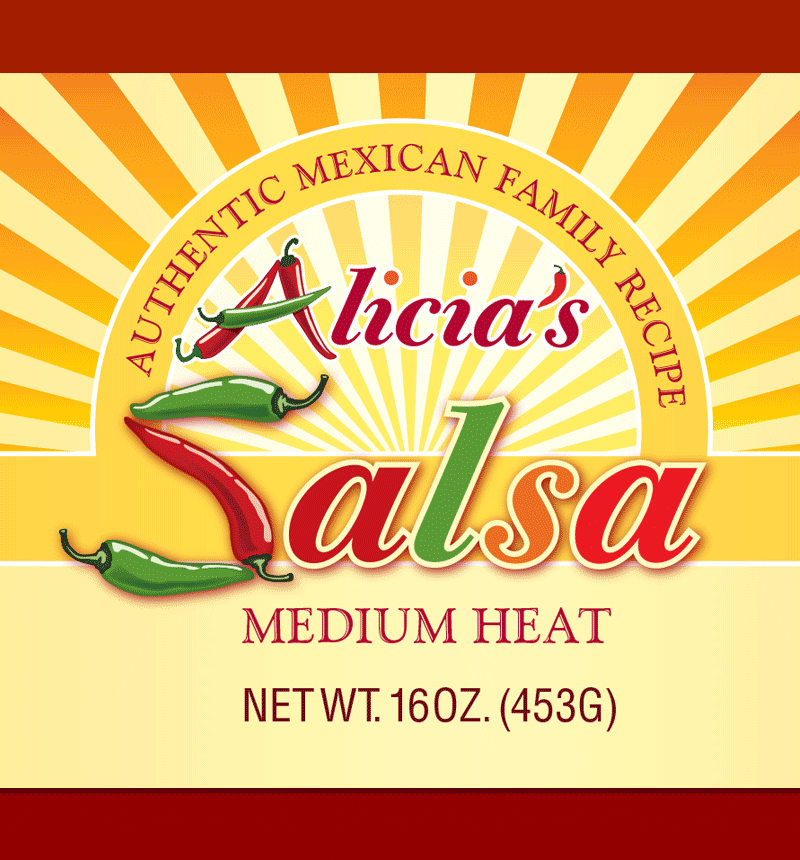 Alicia's salsa logo and label design