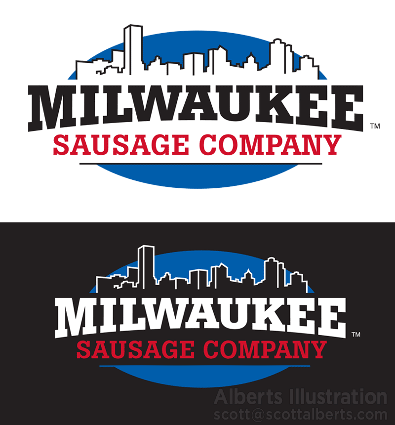 Logo Design - Milwaukee Sausage Company logo design - Alberts Illustration & Design