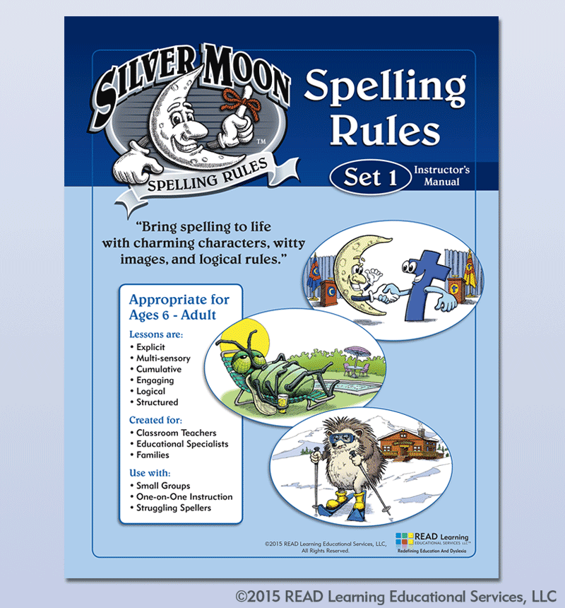 Book cover for Silver Moon Spelling Rules, Alberts Illustration and Design