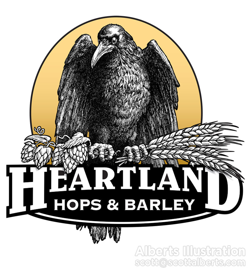 Logo Design - Heartland Hops & Barley - Alberts Illustration & Design
