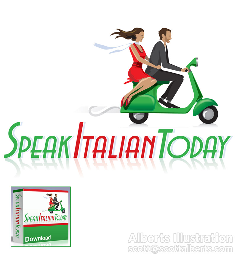 Logo Design - Speak Italian Today - Alberts Illustration & Design - Digital Art