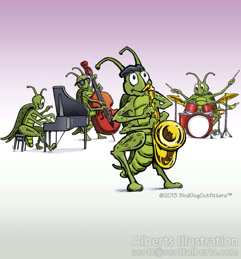 Art for Children - Crickets Jazz Illustration - Alberts Illustration