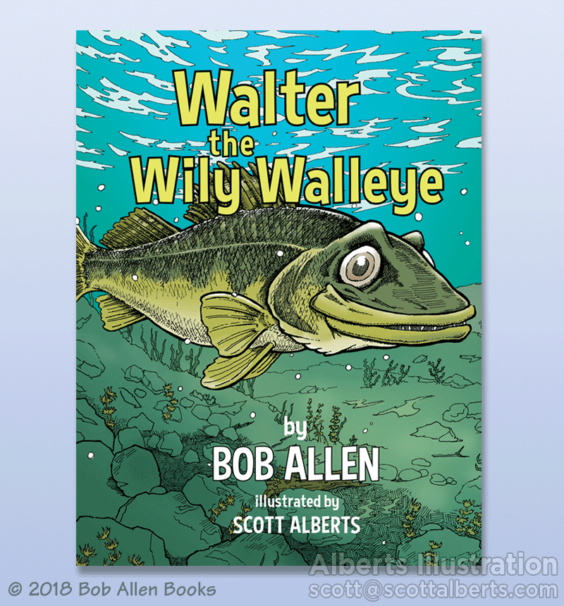 Book Illustration - Wally the Wily Walleye - Alberts Illustration