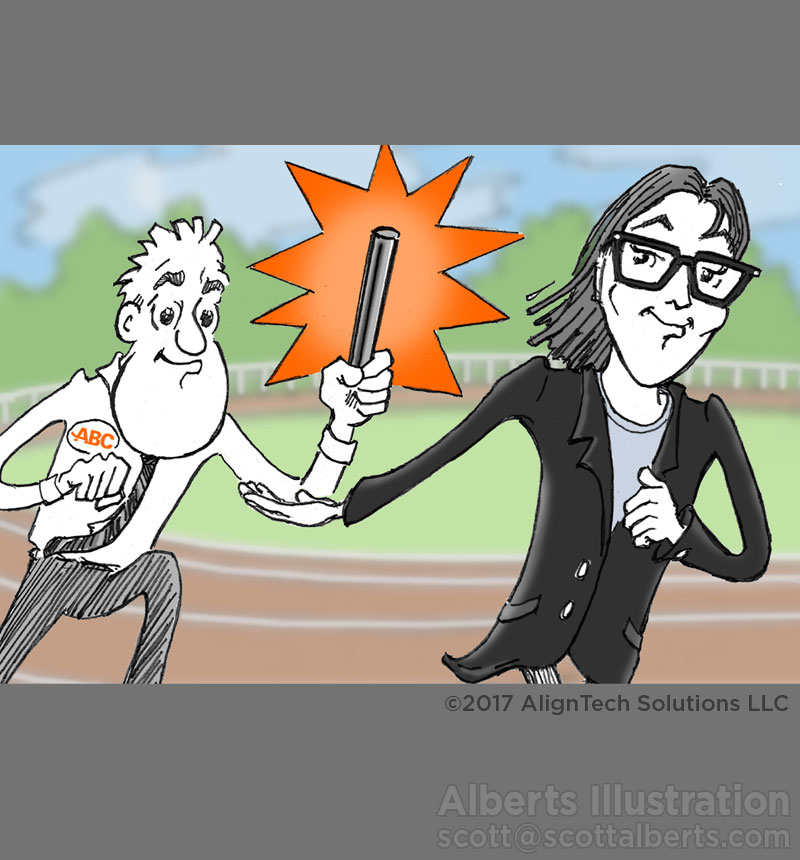 Cartoon Drawing - Relay Race - Alberts Illustration