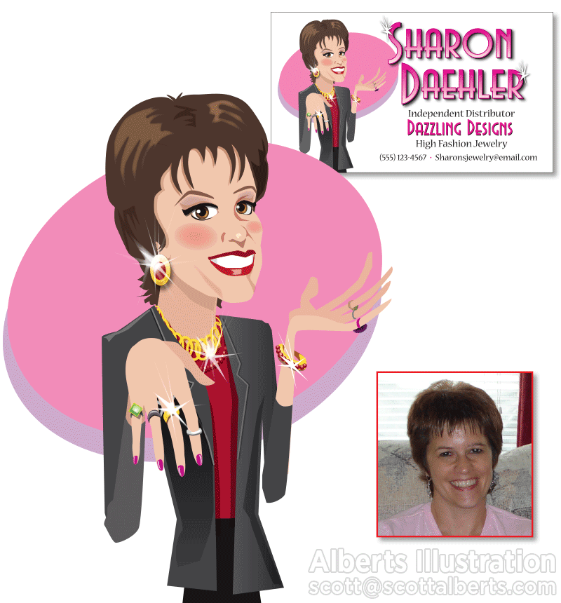 Digital Art - Sharon Digital Caricature - Alberts Illustration