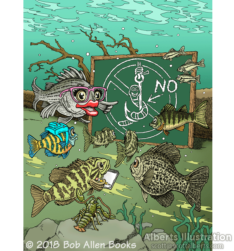 Freelance Illustration - Wally the Wily Walleye fish school
