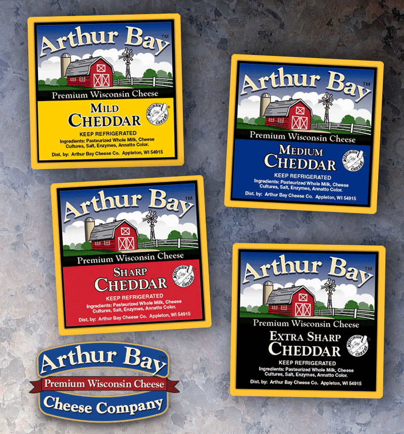 Label Design & Packaging Design - Arthur Bay Cheddar Labels - Alberts Illustration & Design