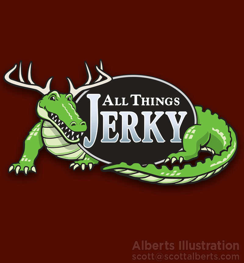 Logo Design Portfolio - All Things Jerky Logo - Alberts Illustration