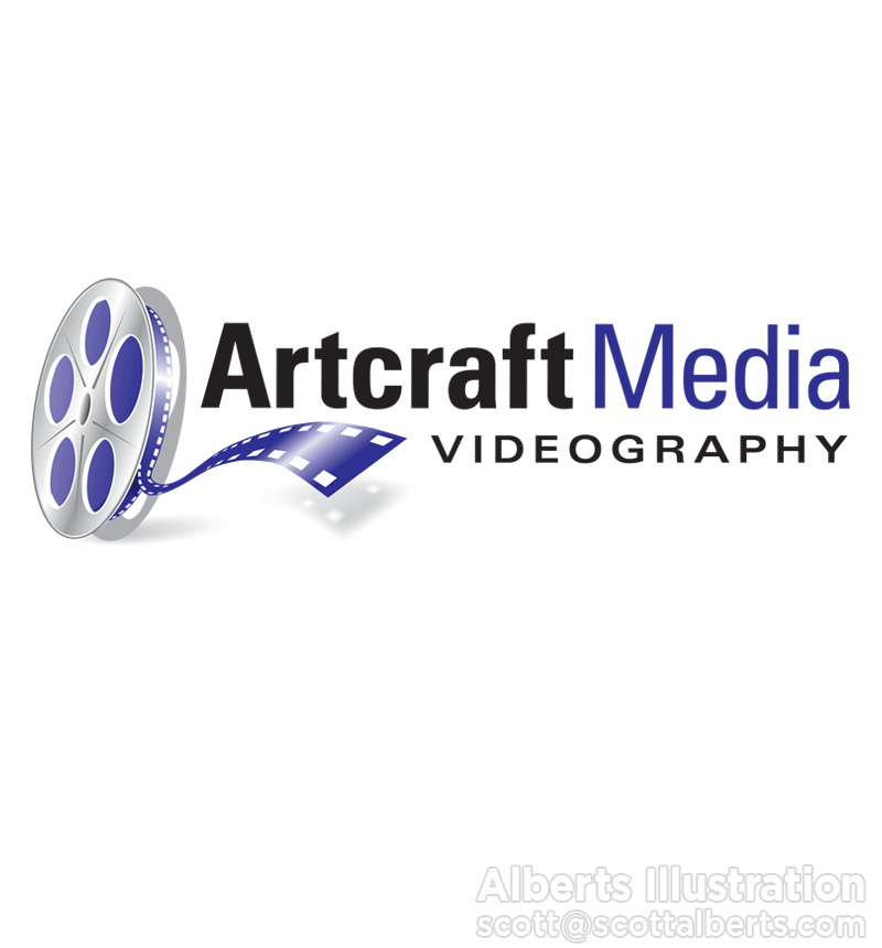 Logo Design Portfolio - Artcraft Media Videography Logo - Alberts Illustration