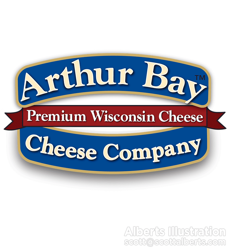 Logo Design Portfolio - Arthur Bay Cheese Company Logo - Alberts Illustration