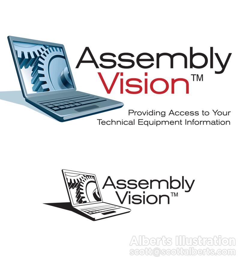 Logo Design Portfolio - Assembly Vision Logo - Alberts Illustration