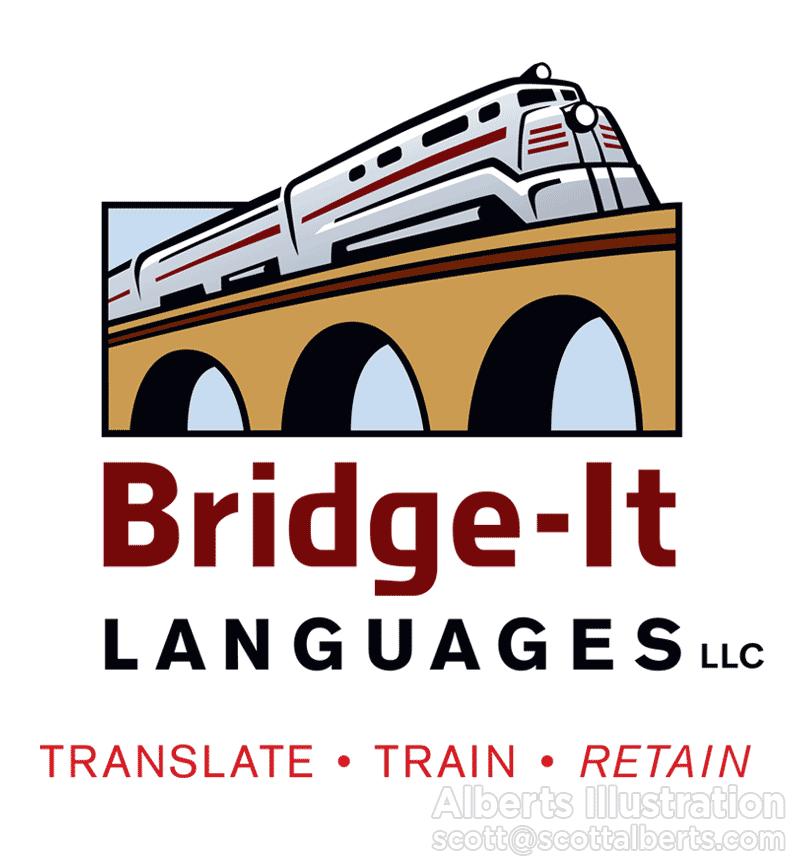 Logo Design Portfolio - Bridge-It Languages LLC Logo - Alberts Illustration