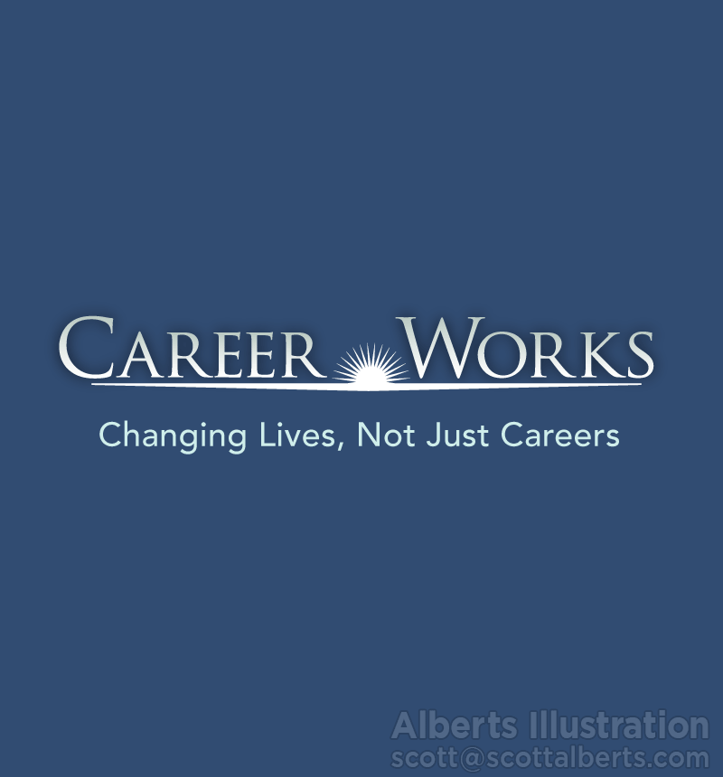 Logo Design Portfolio - Career Works Logo - Alberts Illustration