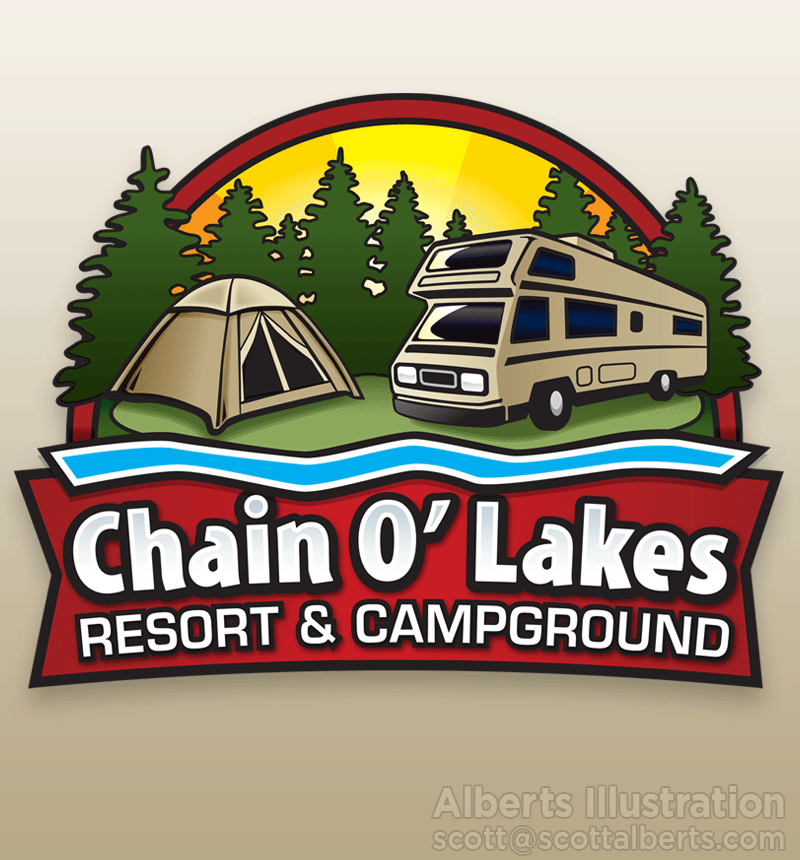 Logo Design Portfolio - Chain O' Lakes Resort & Campground Logo - Alberts Illustration