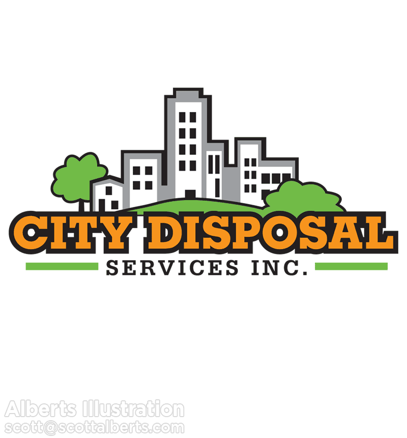 Logo Design Portfolio - City Disposal Services, Inc. Logo - Alberts Illustration