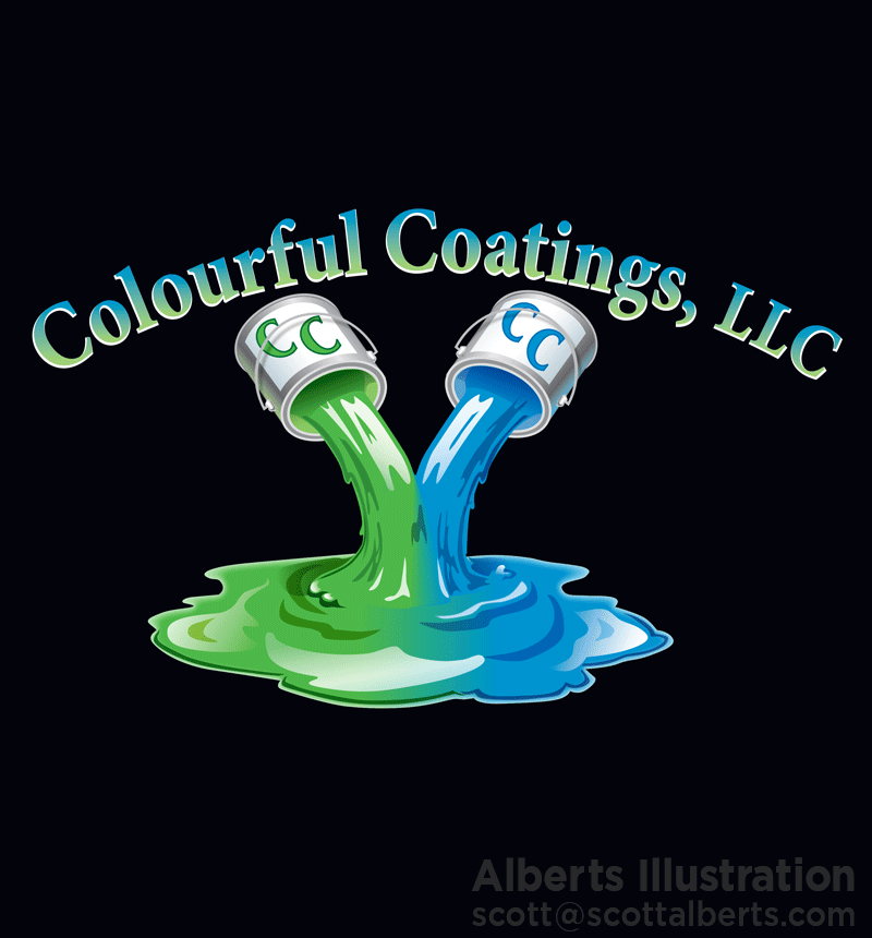 Logo Design Portfolio - Colourful Coatings, LLC Logo - Alberts Illustration