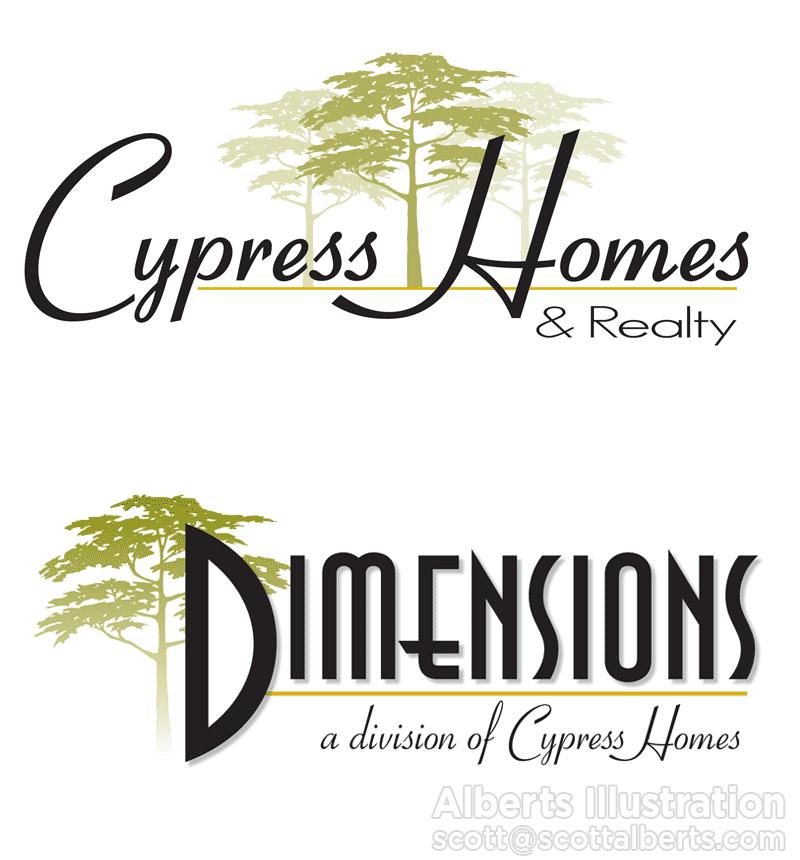 Logo Design Portfolio - Cypress Homes & Realty Logo - Alberts Illustration