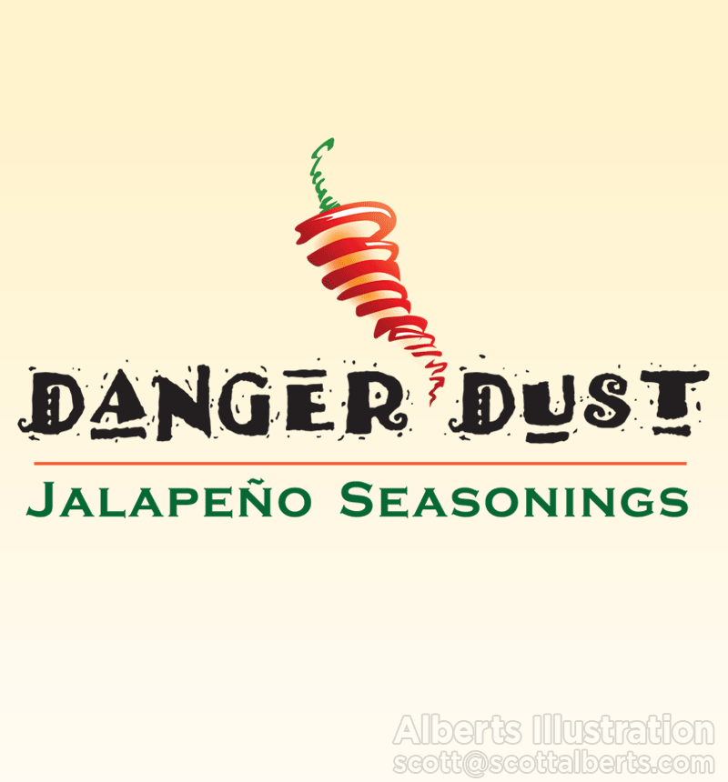 Logo Design Portfolio - Danger Dust Logo - Alberts Illustration