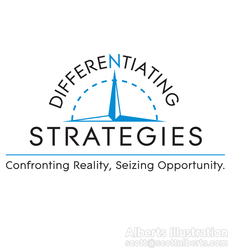 Logo Design Portfolio - Differentiating Strategies Logo - Alberts Illustration