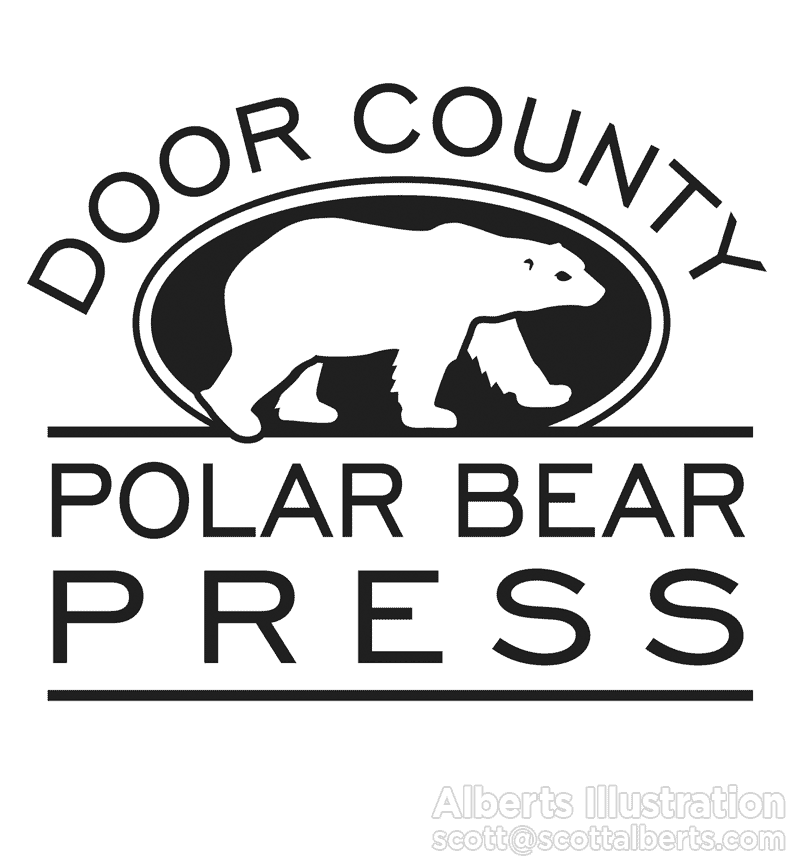 Logo Design Portfolio - Door County Polar Bear Press Logo - Alberts Illustration