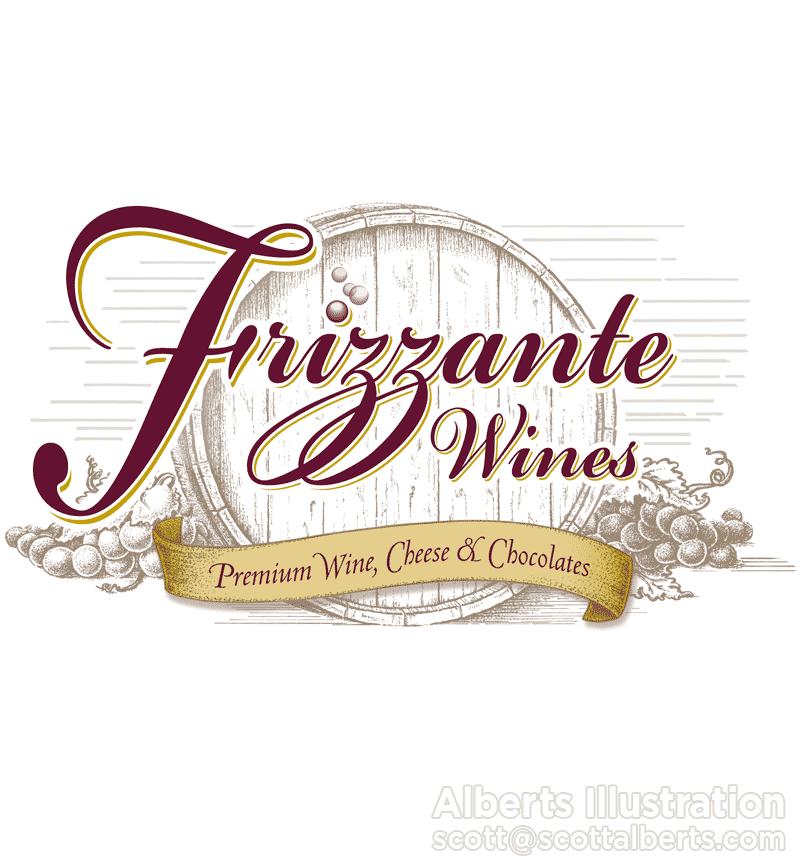 Logo Design Portfolio - Frizzante Wines Logo - Alberts Illustration