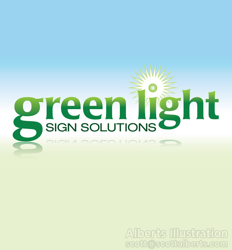 Logo Design Portfolio - Green Light Sign Solutions Logo - Alberts Illustration