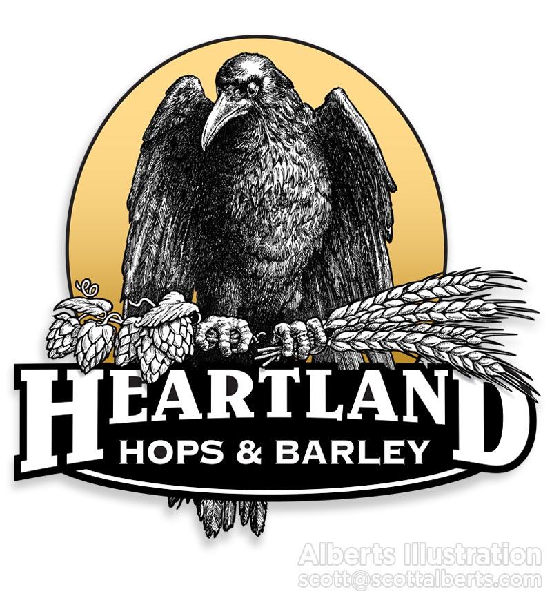 Logo Design Portfolio - Heartland Hops & Barley Logo - Alberts Illustration
