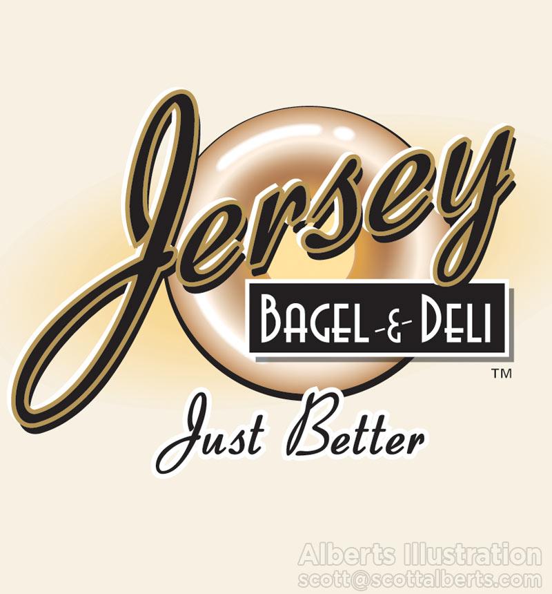 Logo Design Portfolio - Jersey Bagel Logo - Alberts Illustration