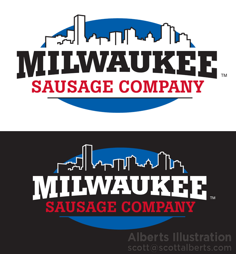 Logo Design Portfolio - Milwaukee Sausage Company Logo - Alberts Illustration