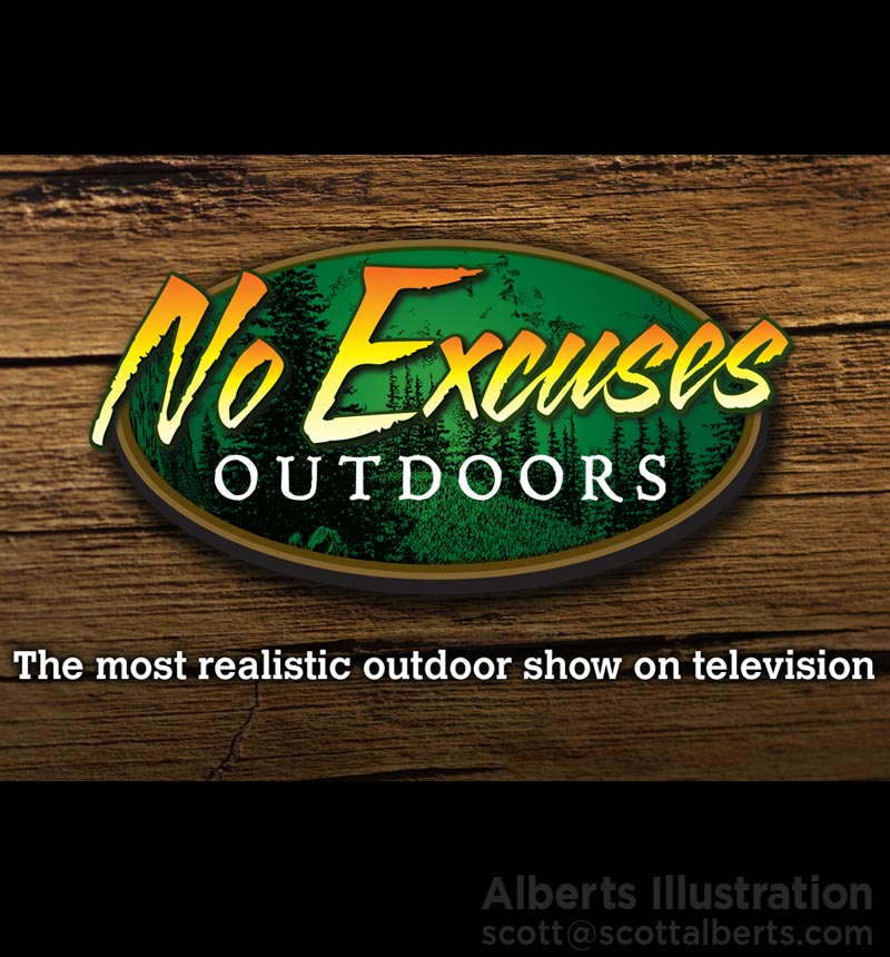 Logo Design Portfolio - No Excuses Outdoors Logo - Alberts Illustration