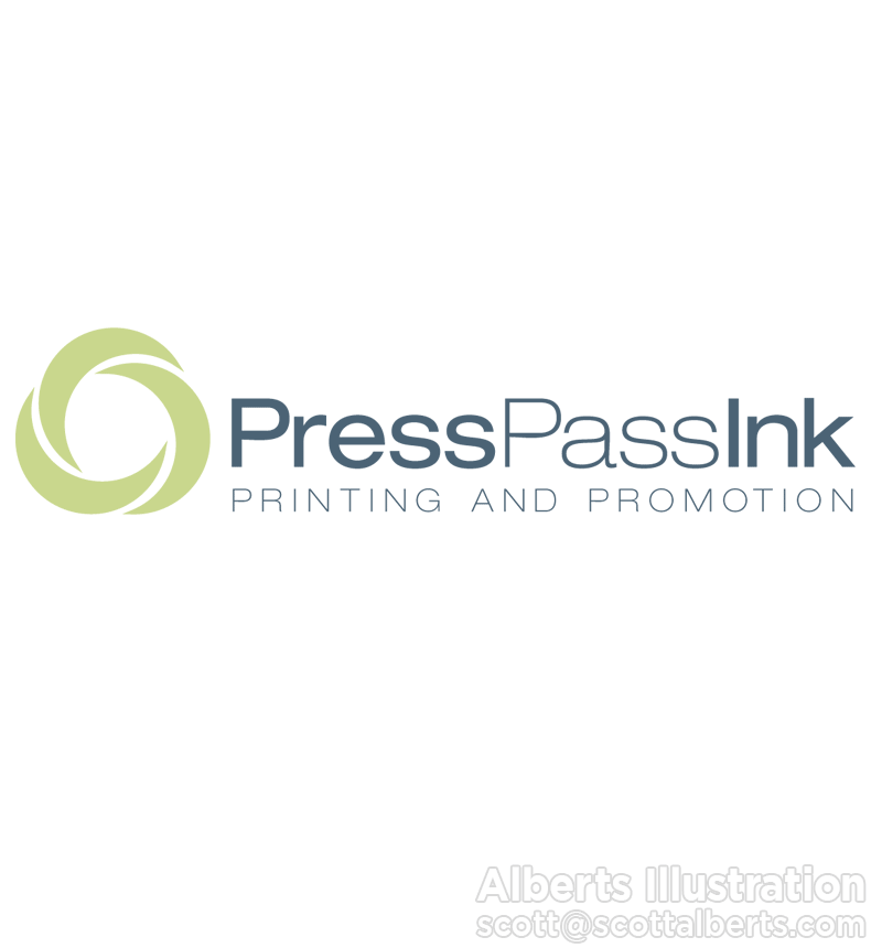 Logo Design Portfolio - Press Pass Ink Logo - Alberts Illustration