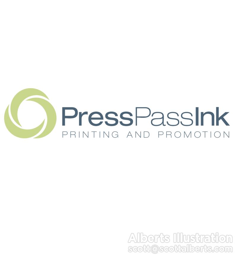 Logo Design Portfolio - Press Pass Ink Logo - Alberts Illustration
