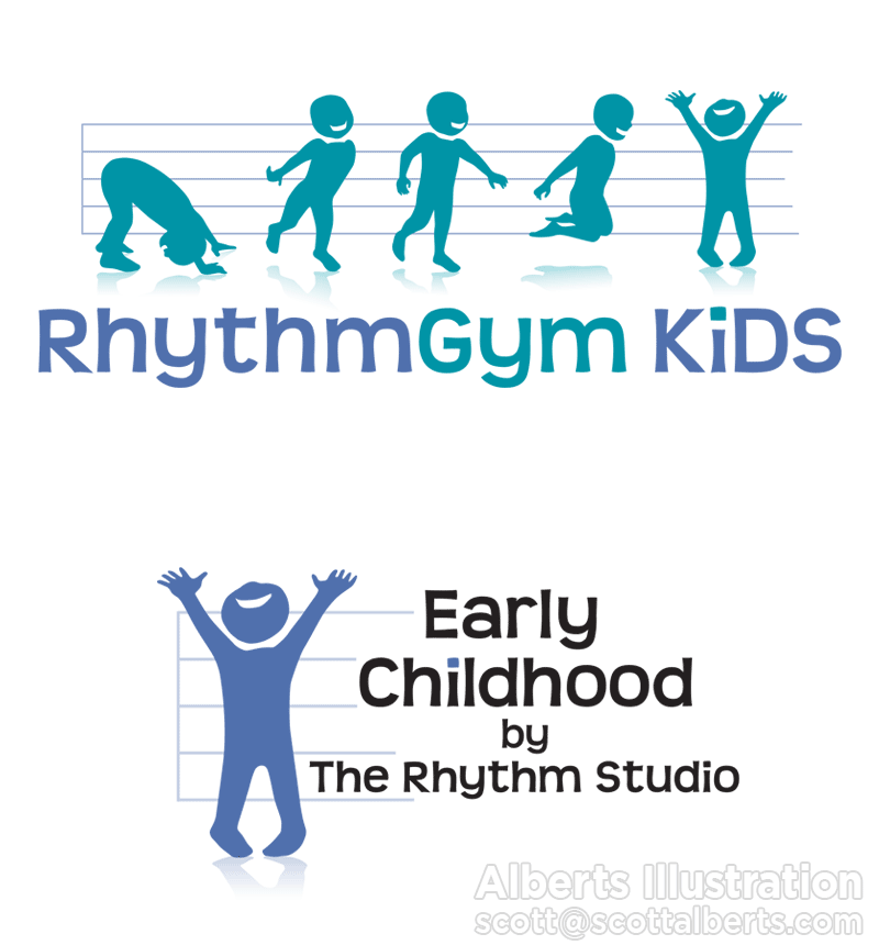 Logo Design Portfolio - Rhythm Gym Kids Logo - Alberts Illustration