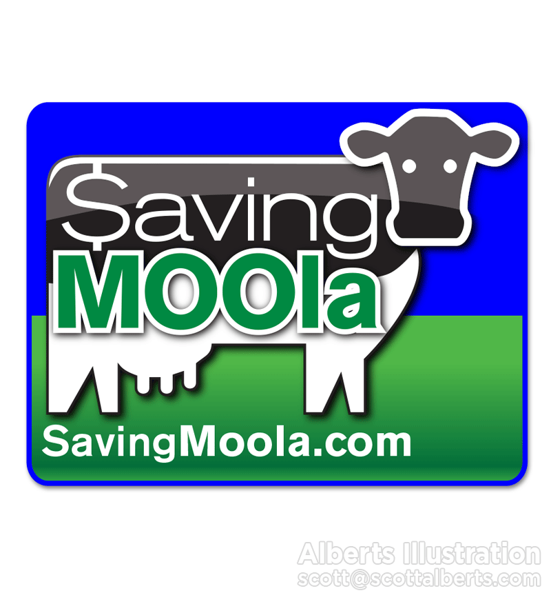 Logo Design Portfolio - Saving MOOla Logo - Alberts Illustration