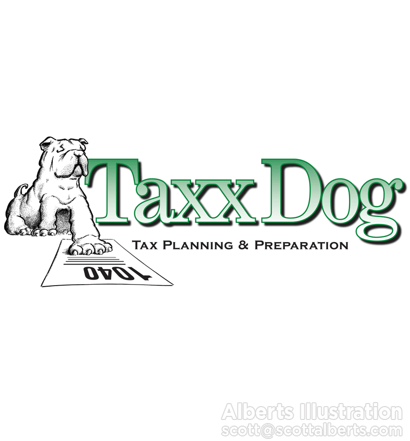 Logo Design Portfolio - Taxx Dog Logo - Alberts Illustration