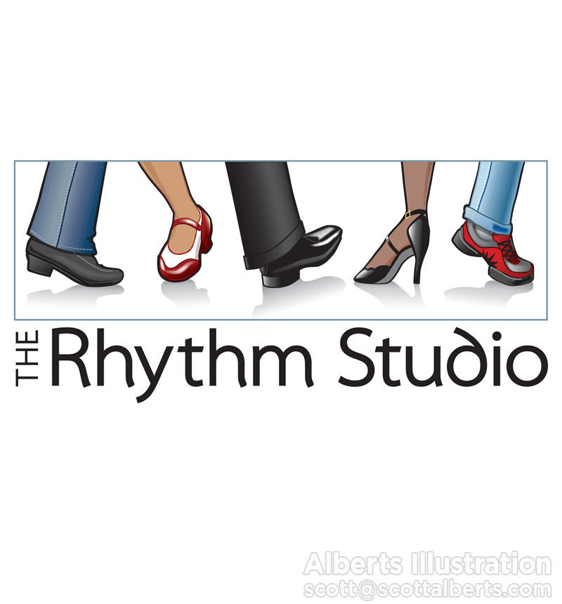 Logo Design Portfolio - The Rhythm Studio Logo - Alberts Illustration