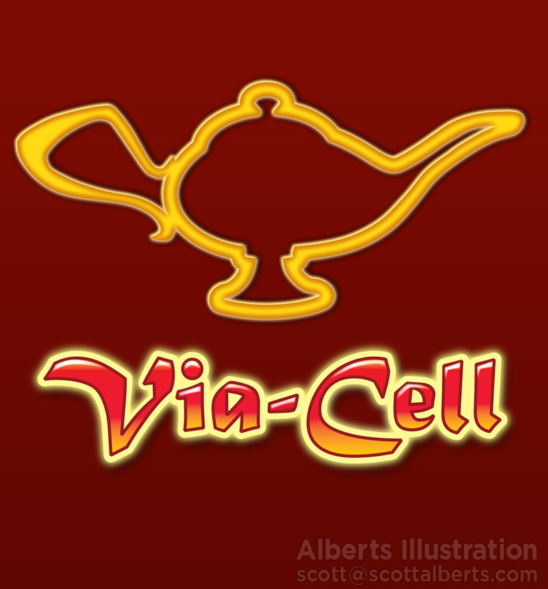 Logo Design Portfolio - Via-Cell Logo - Alberts Illustration