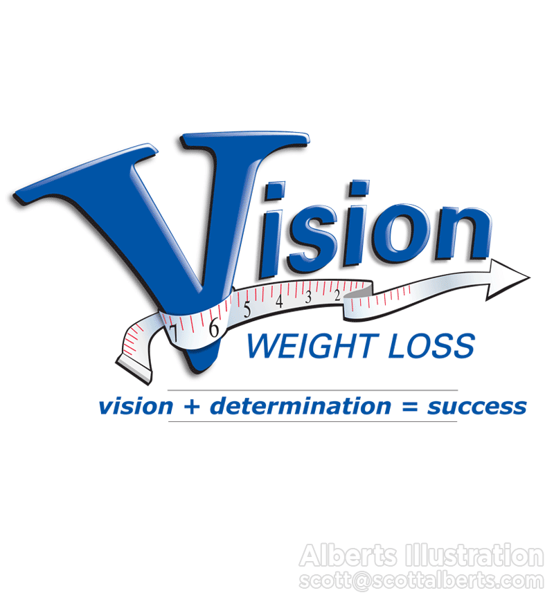 Logo Design Portfolio - Vision Weight Loss Logo - Alberts Illustration