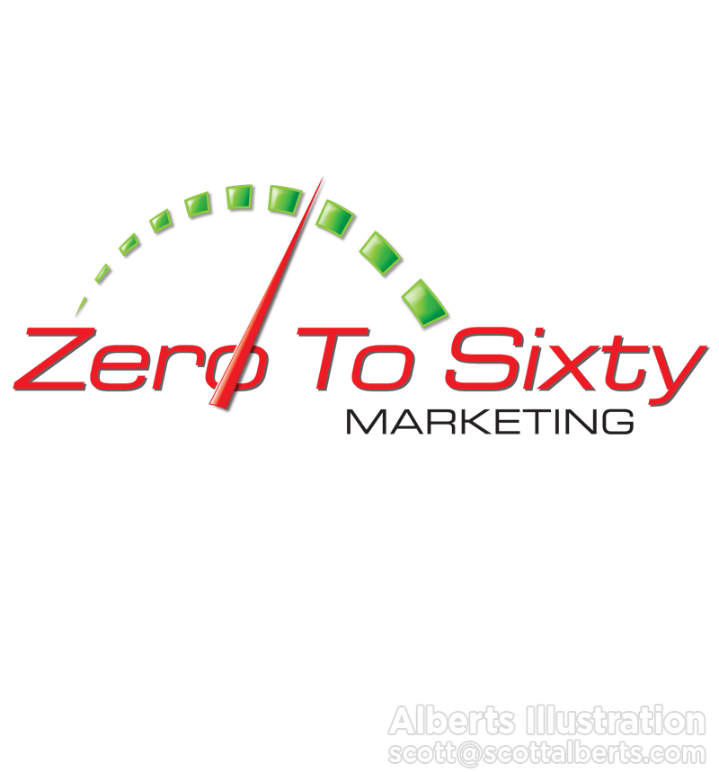 Logo Design Portfolio - Zero To Sixty Marketing Logo - Alberts Illustration