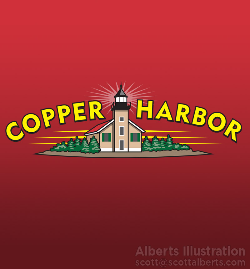 logo design - copper harbor foods - alberts illustration