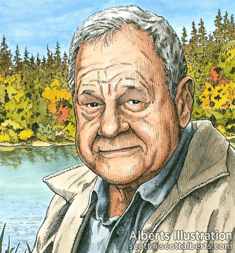 Portraiture - Portrait Of My Father Ralph Alberts In Pen And Ink And Watercolor - Alberts Illustration & Design