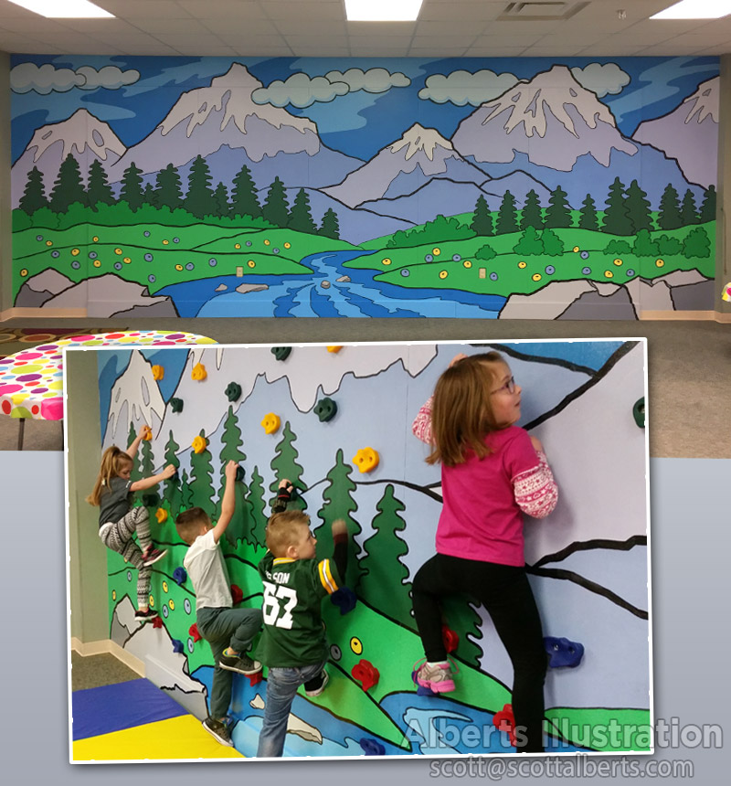 Set Design - Mural for kids' climbing wall at church - Alberts Illustration